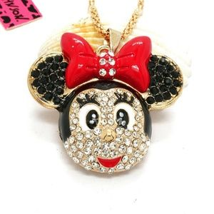 Bow Mouse Head Minnie Pendant Necklace